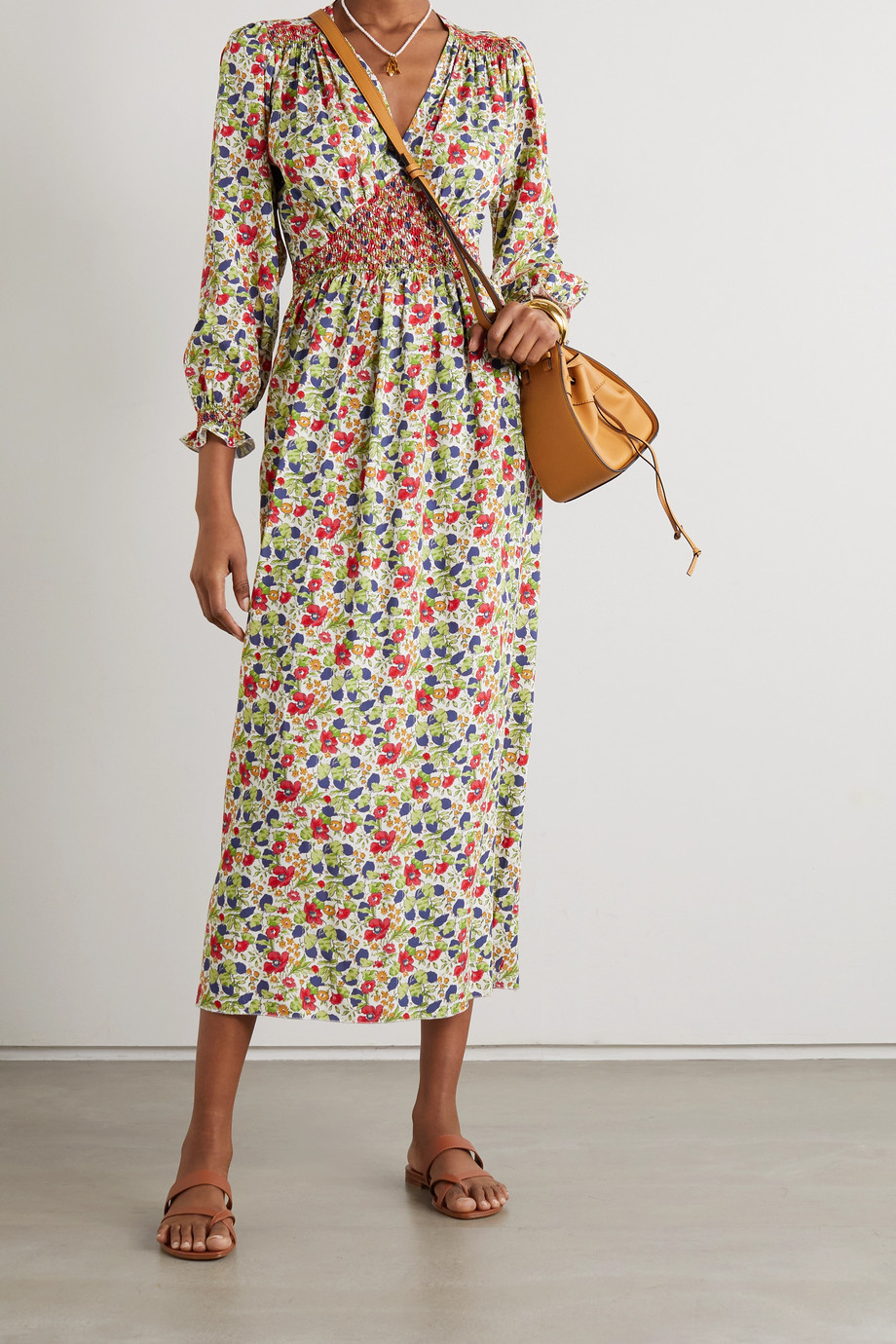 Loretta Caponi Anna smocked floral-print cotton-poplin midi dress