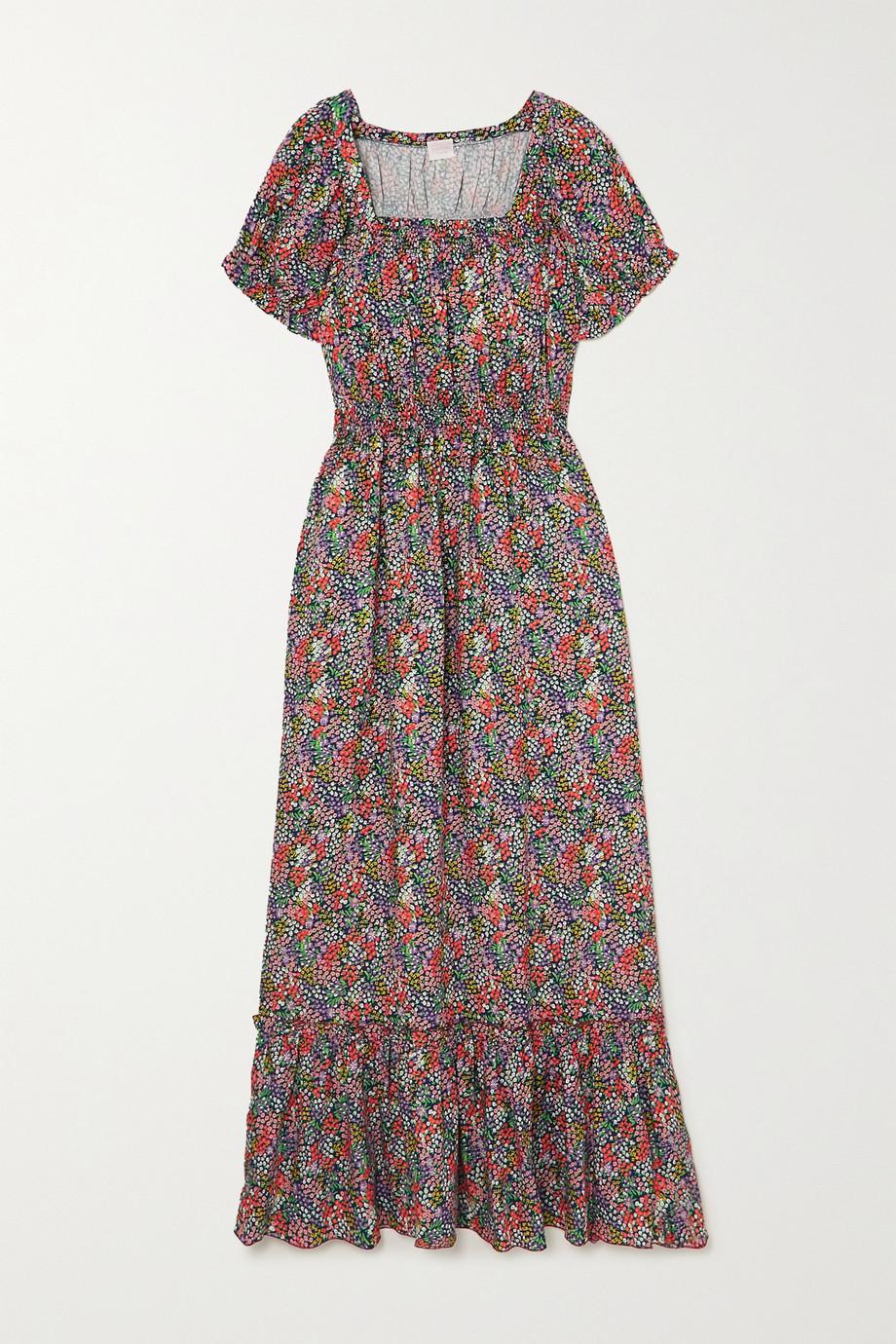 Loretta Caponi Stefania ruffled shirred floral-print poplin midi dress