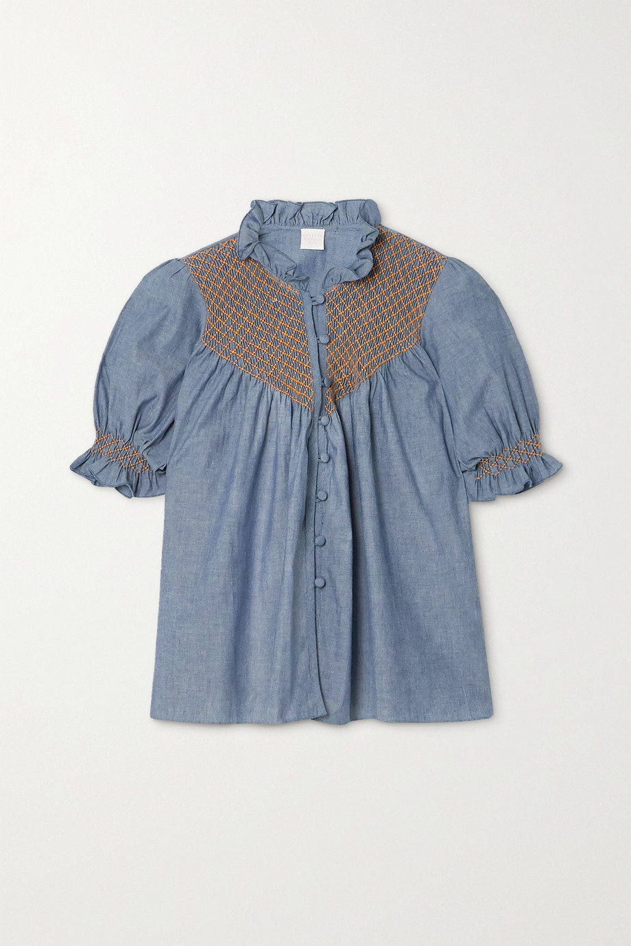 Loretta Caponi Milvia ruffled smocked cotton-chambray blouse