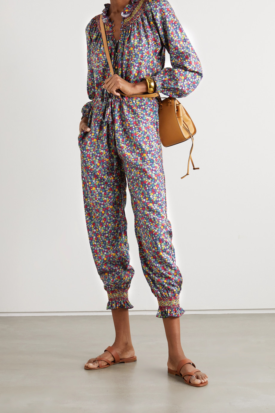 Loretta Caponi Christina ruffled smocked printed poplin jumpsuit