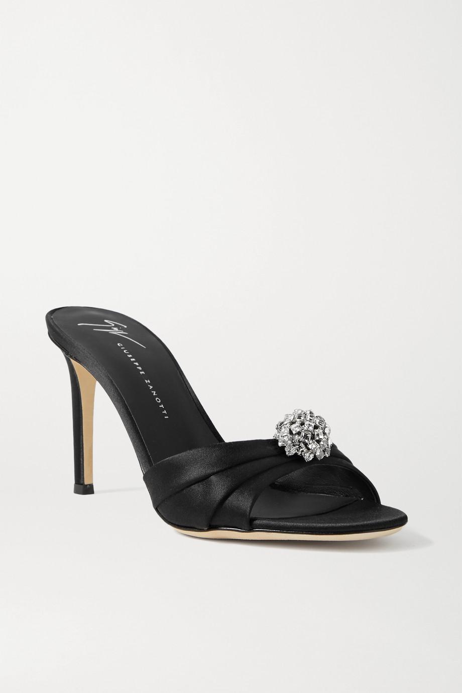 Giuseppe Zanotti Crystal-embellished satin mules