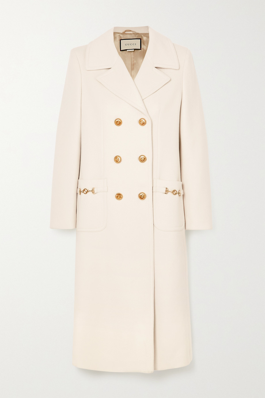 Gucci Horsebit-detailed double-breasted wool-twill coat