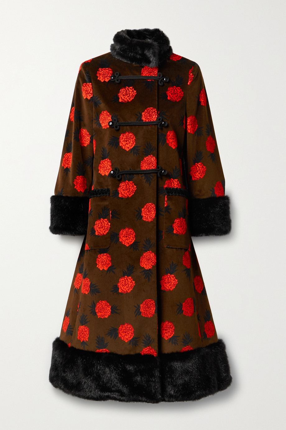 Gucci + Ken Scott Patula faux fur-trimmed floral-print cotton-blend velvet coat