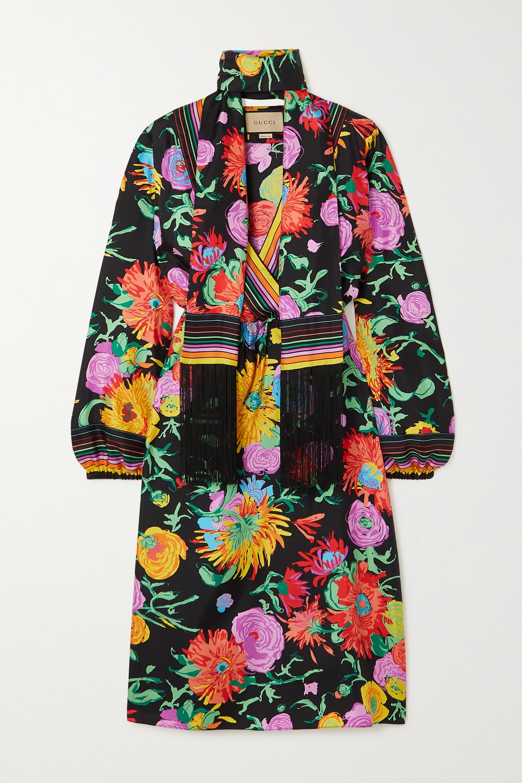 Gucci + Ken Scott Jenni fringed floral-print silk-twill midi dress