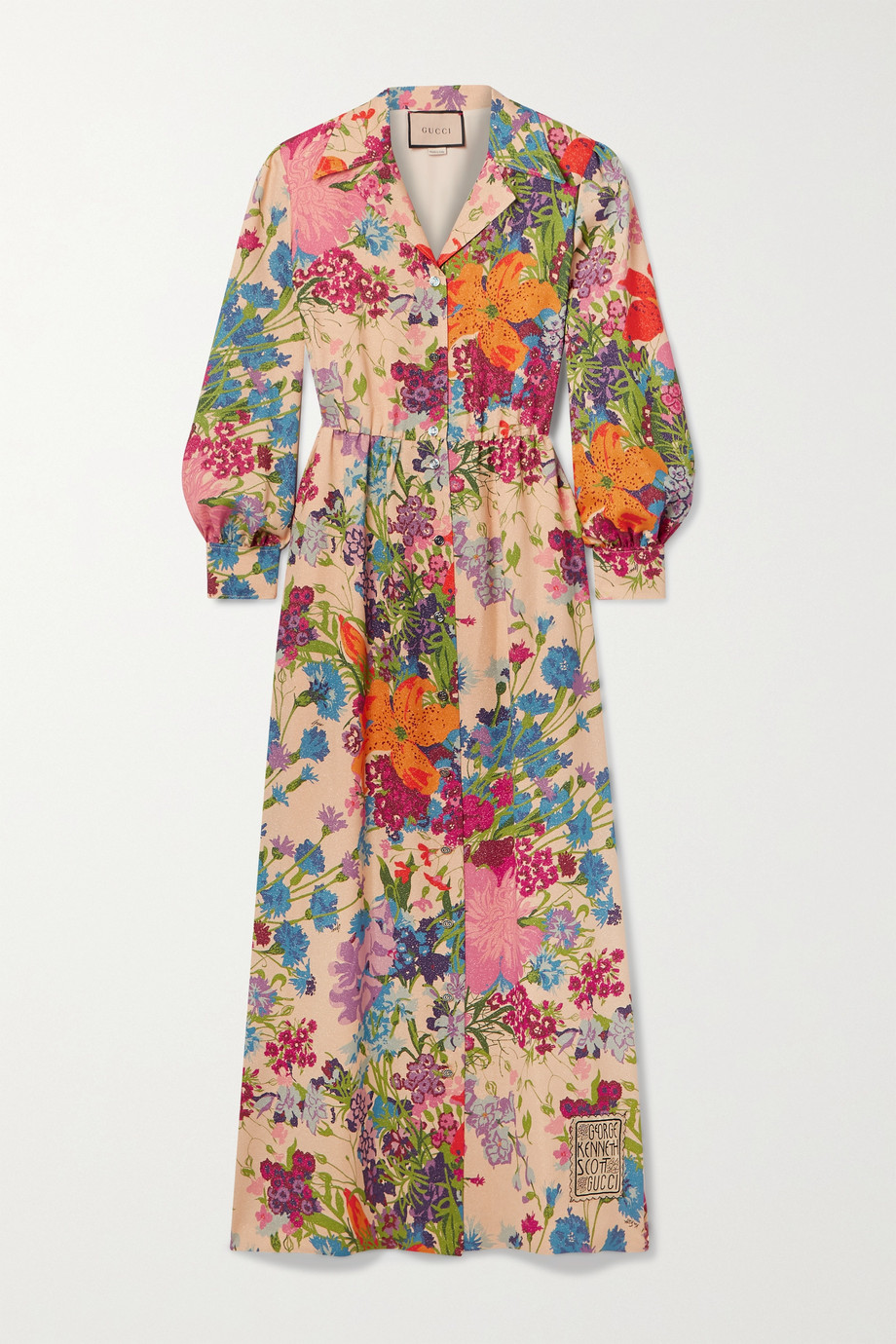 Gucci + Ken Scott appliquéd floral-print metallic georgette shirt dress