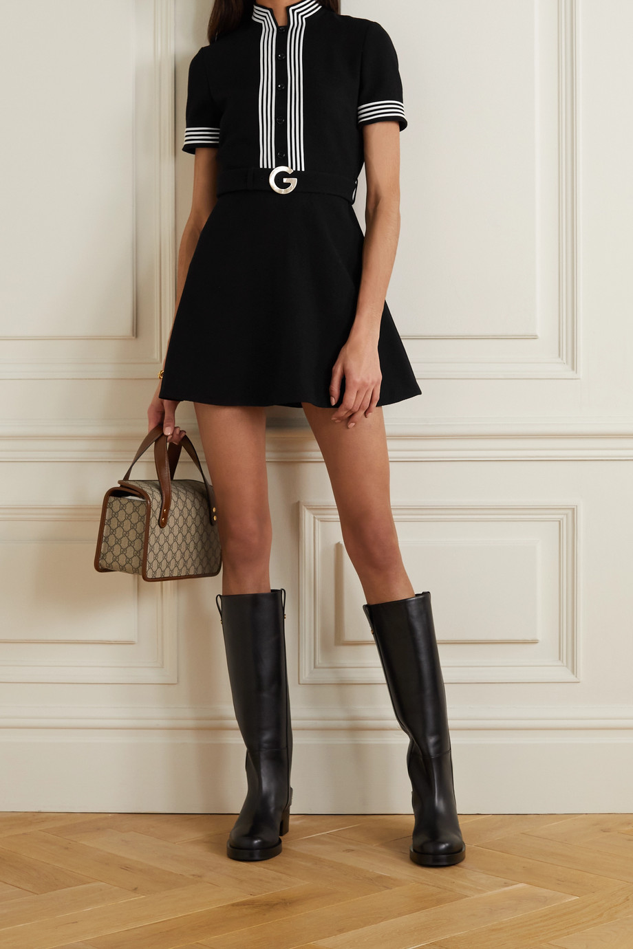 Gucci Belted striped wool-crepe mini dress