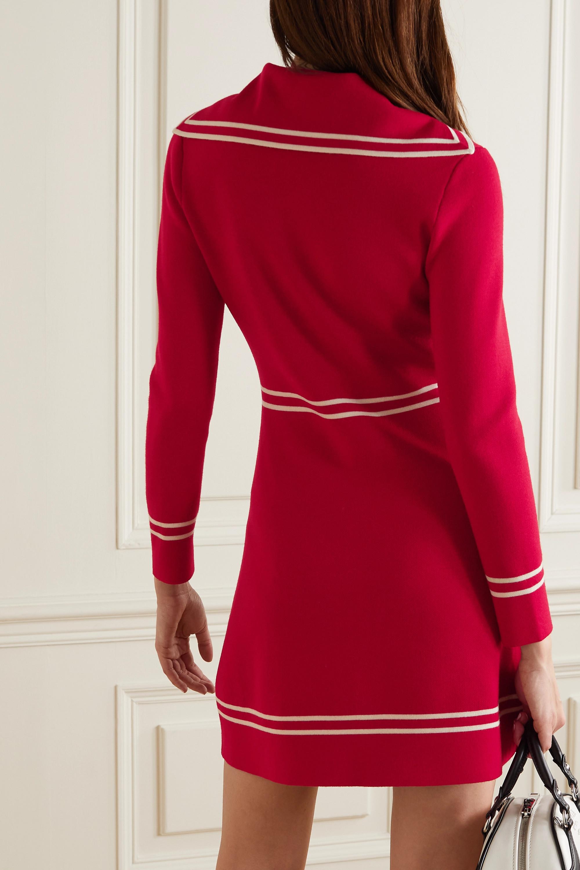 Gucci Horsebit-detailed wool-jacquard mini dress