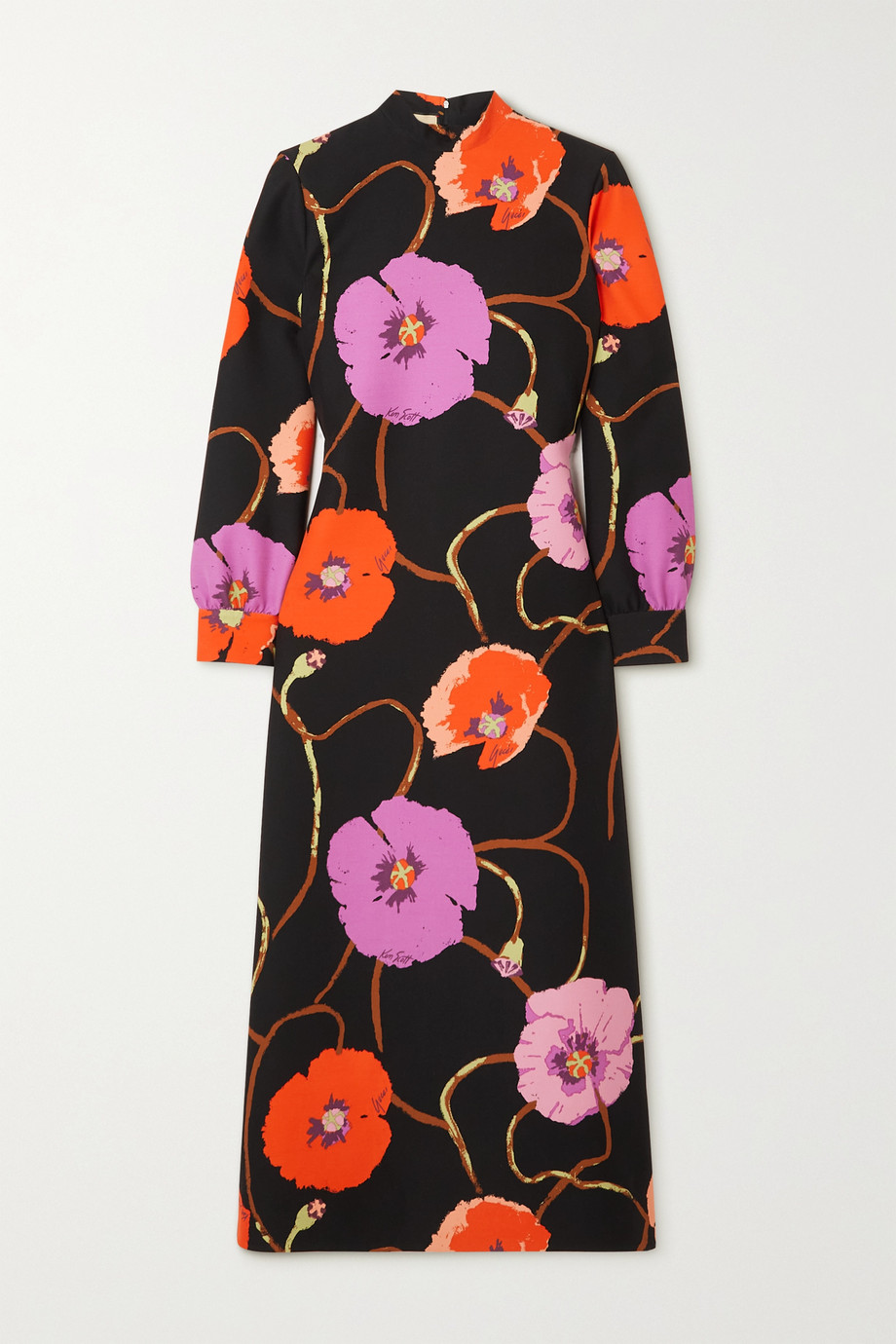 Gucci + Ken Scott floral-print silk and wool-blend midi dress