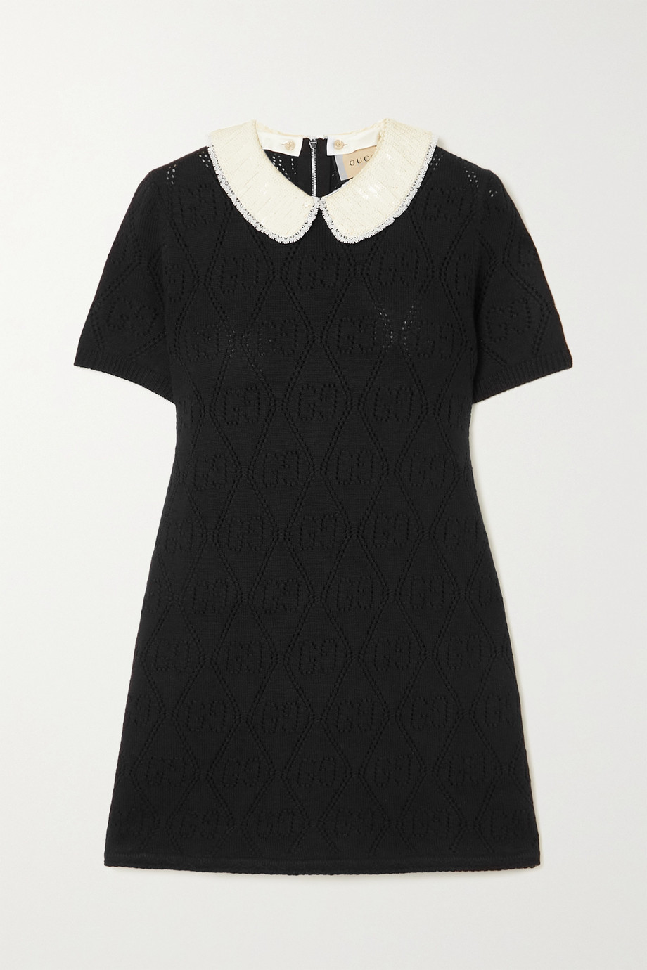 Gucci Sequin-embellished pointelle-knit wool mini dress