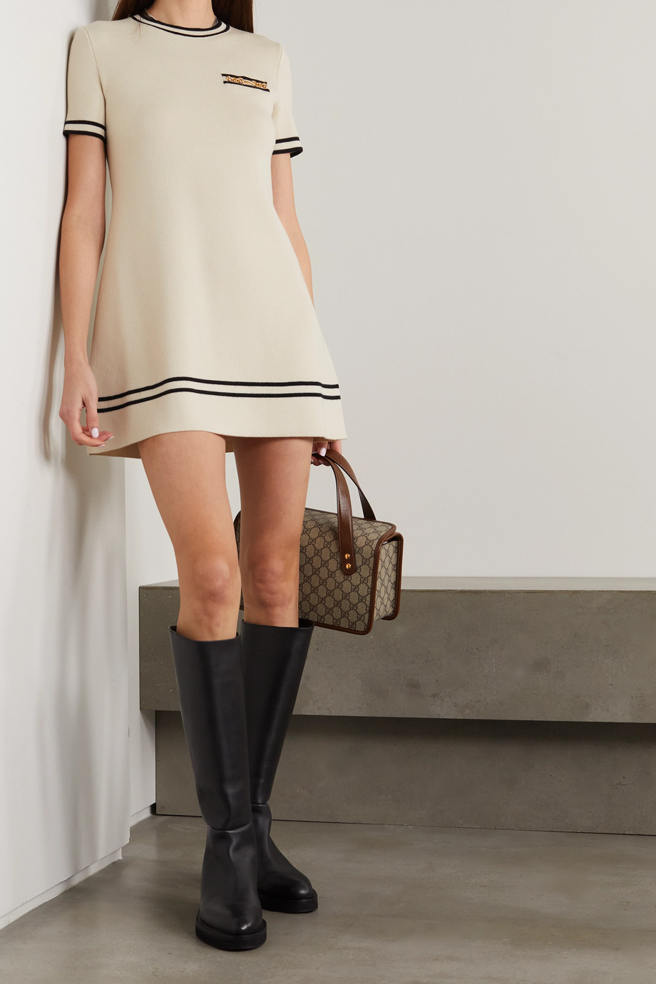 Gucci Horsebit wool-jacquard mini dress