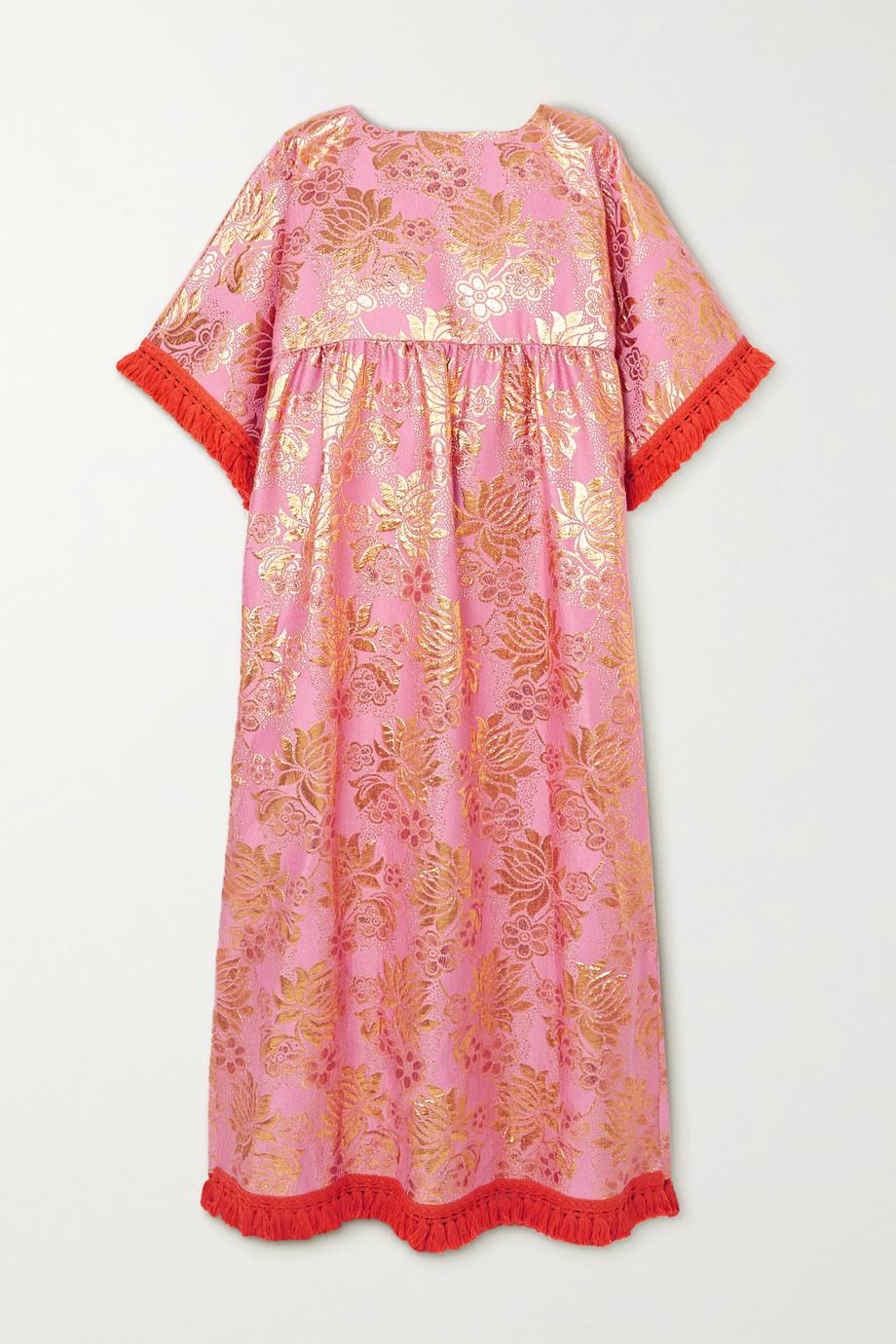 Gucci Tasseled floral wool-blend brocade maxi dress