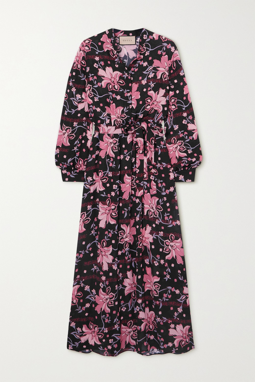 Gucci Belted floral-print crepe midi dress