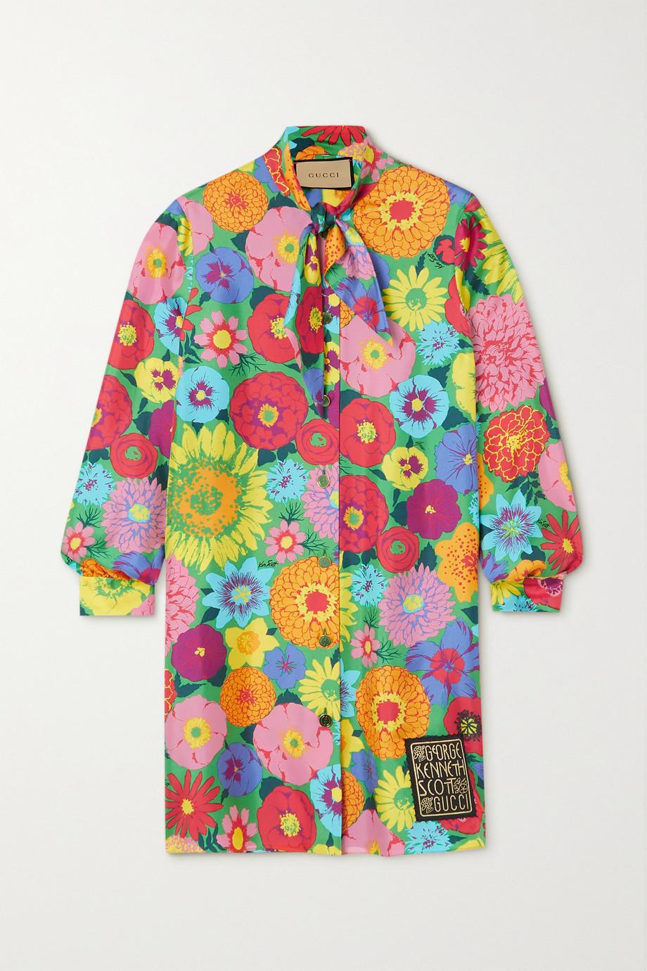 Gucci + Ken Scott Gagliarda floral-print silk-twill mini dress