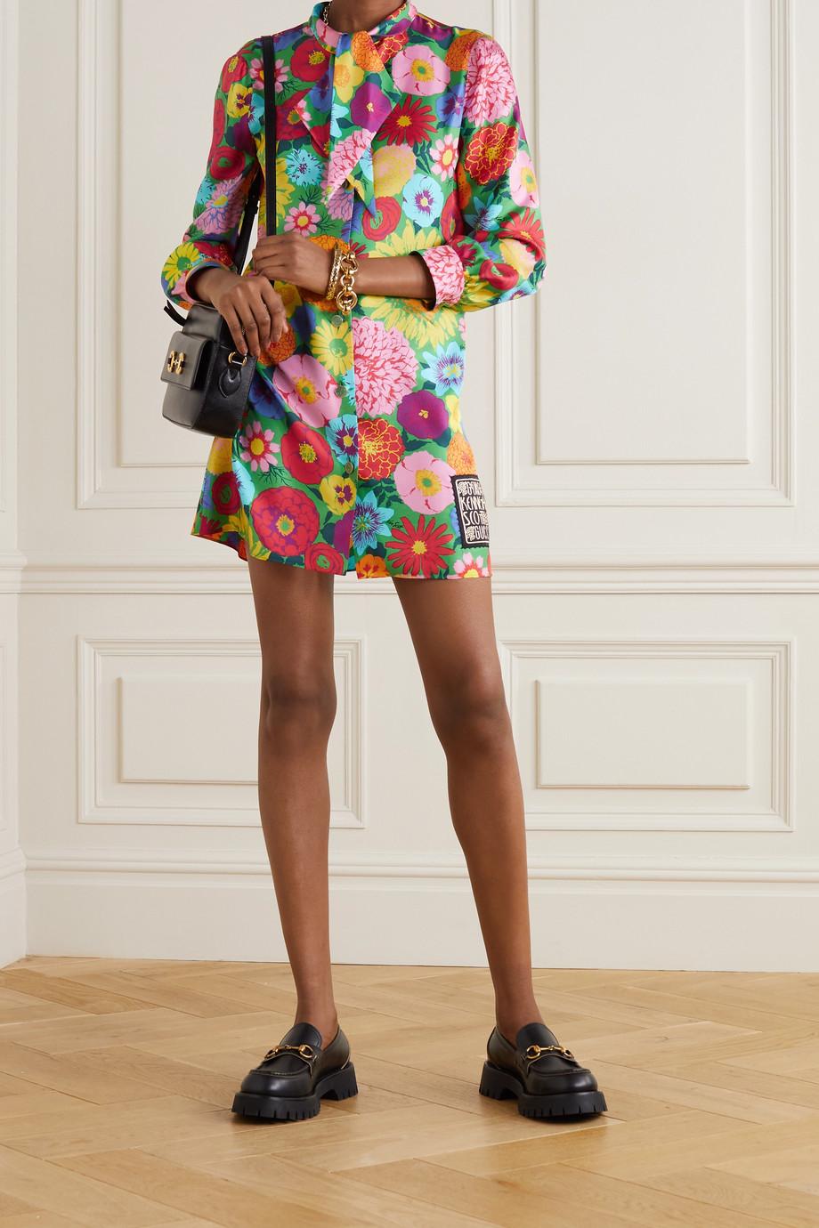 Gucci + Ken Scott Gagliarda Minikleid aus geblümtem Seiden-Twill