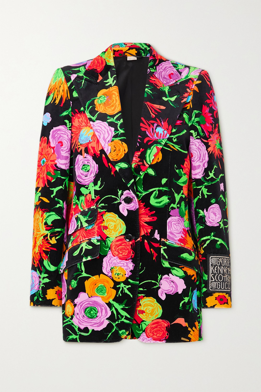 Gucci + Ken Scott Jenni appliquéd floral-print velvet blazer