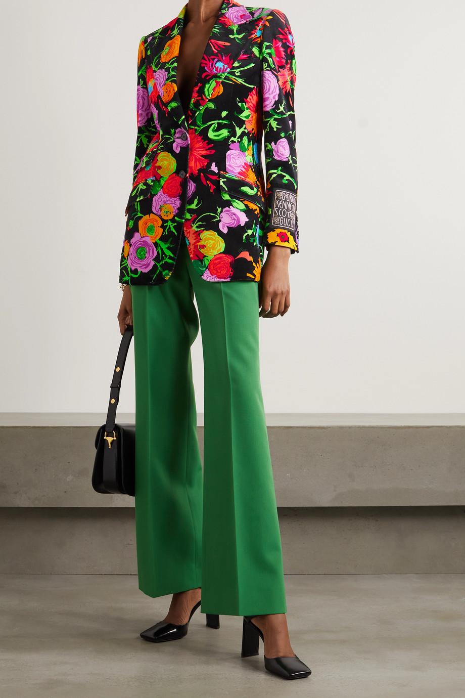 Gucci + Ken Scott Jenni Samtblazer mit Blumenmuster und Applikation