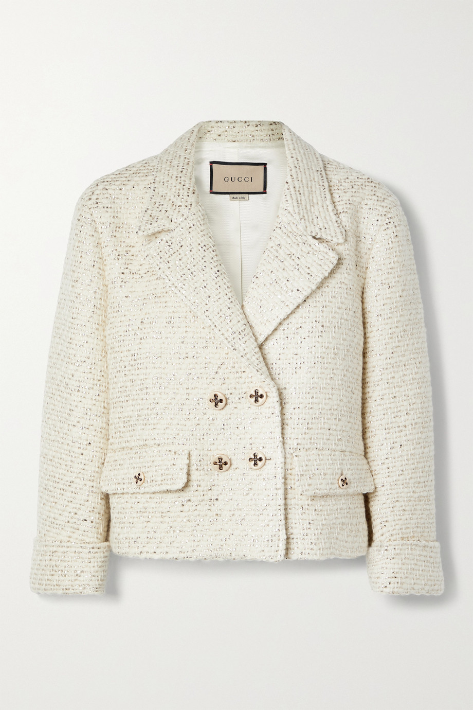 Gucci Double-breasted metallic wool-blend tweed jacket