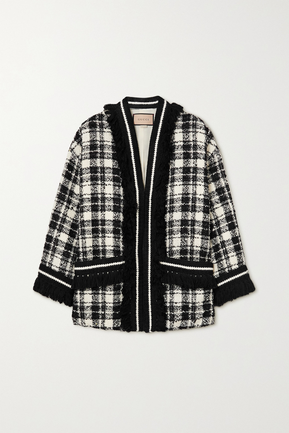 Gucci Oversized fringed checked wool-blend tweed jacket