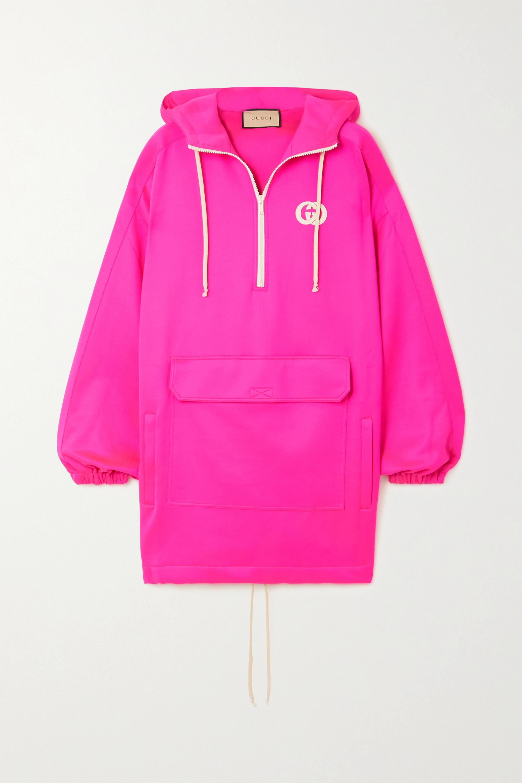 Gucci Oversized appliquéd stretch-scuba hoodie