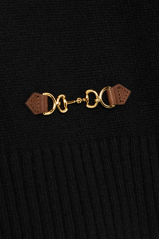 Gucci Kaschmirpullover mit Lederbesätzen und Horsebit-Detail