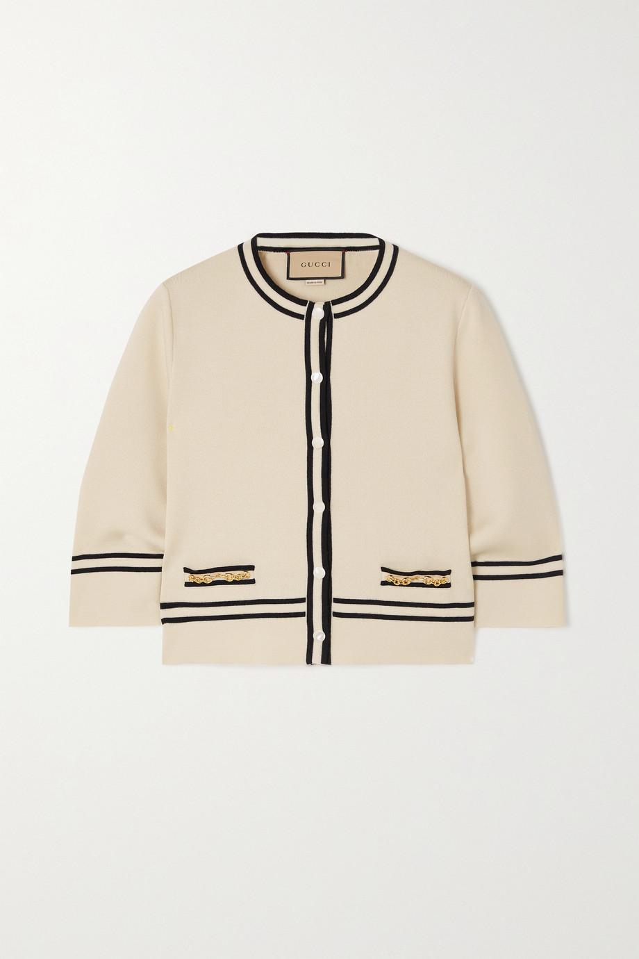 Gucci Horsebit-embellished striped wool cardigan