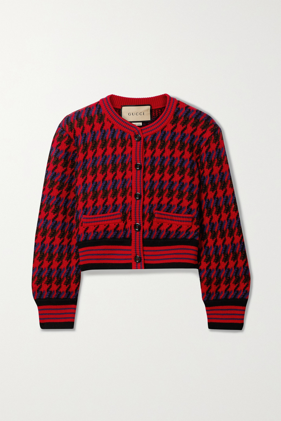 Gucci Cropped houndstooth wool cardigan