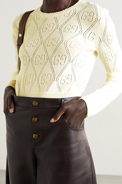 Gucci Verkürzter Pullover aus Wolle in Pointelle-Strick