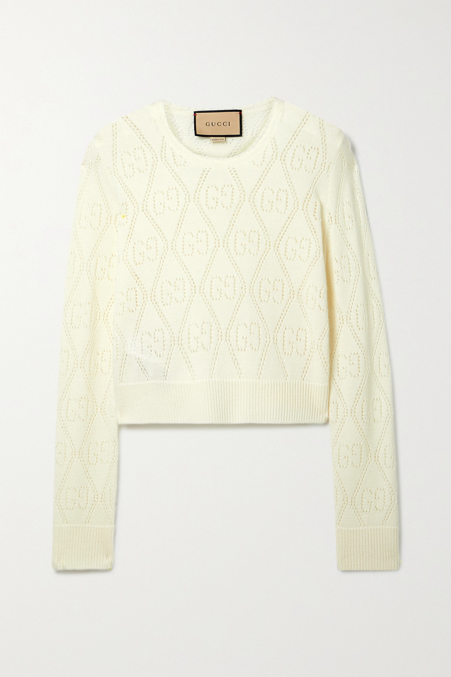 Gucci Cropped pointelle-knit wool sweater