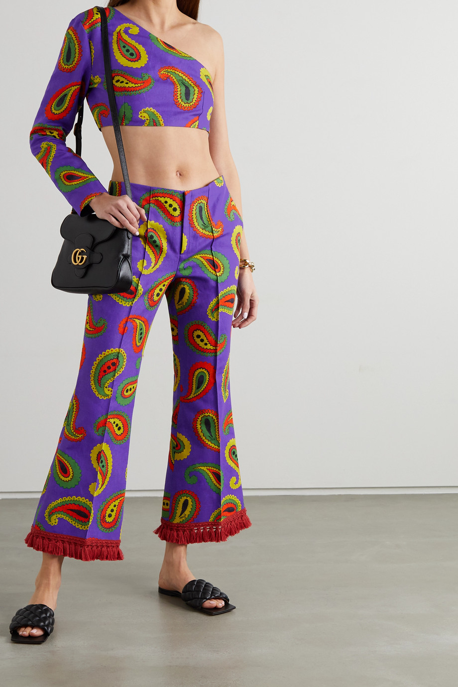 Gucci Fringed paisley-print cotton and linen-blend canvas flared pants