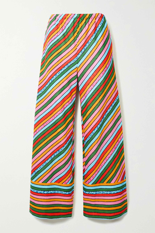 Gucci + Ken Scott gestreifte Hose mit weitem Bein aus Leinen