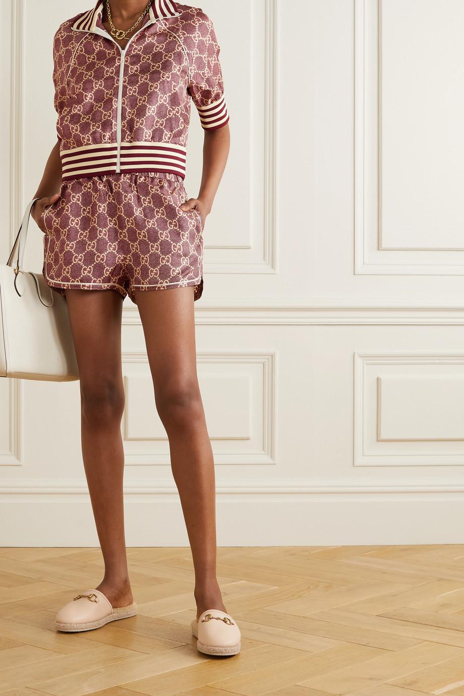 Gucci Piped printed silk-twill shorts