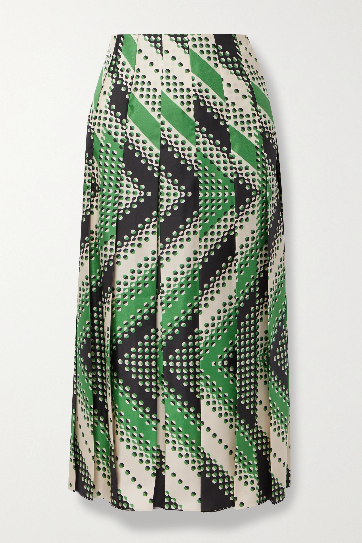 Gucci Pleated printed silk-twill midi skirt