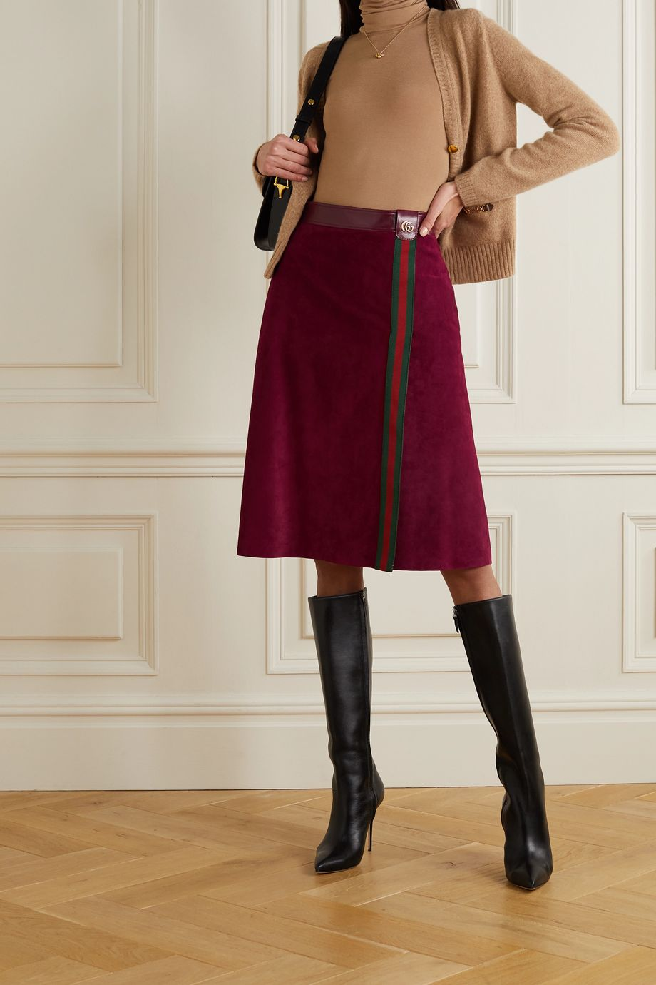 Gucci Leather and webbing-trimmed suede skirt