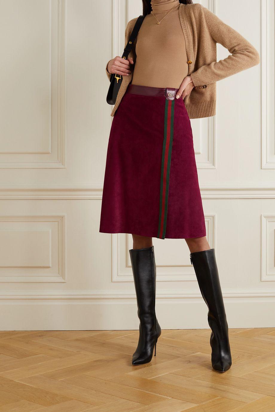 Gucci Rock aus Veloursleder mit Webstreifen und Lederbesatz