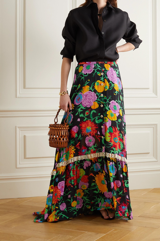 Gucci + Ken Scott lace-trimmed floral-print crepe de chine maxi skirt