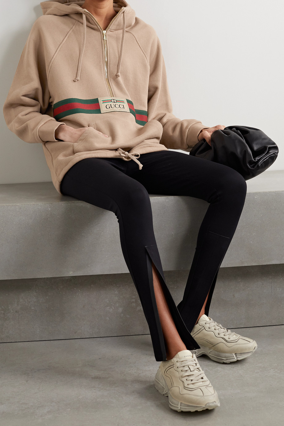 Gucci Appliquéd webbing-trimmed cotton-jersey hoodie