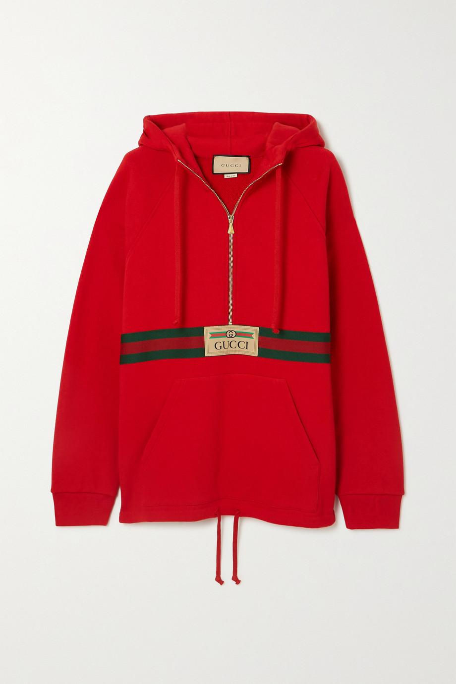Gucci + NET SUSTAIN appliquéd webbing-trimmed organic cotton-jersey hoodie