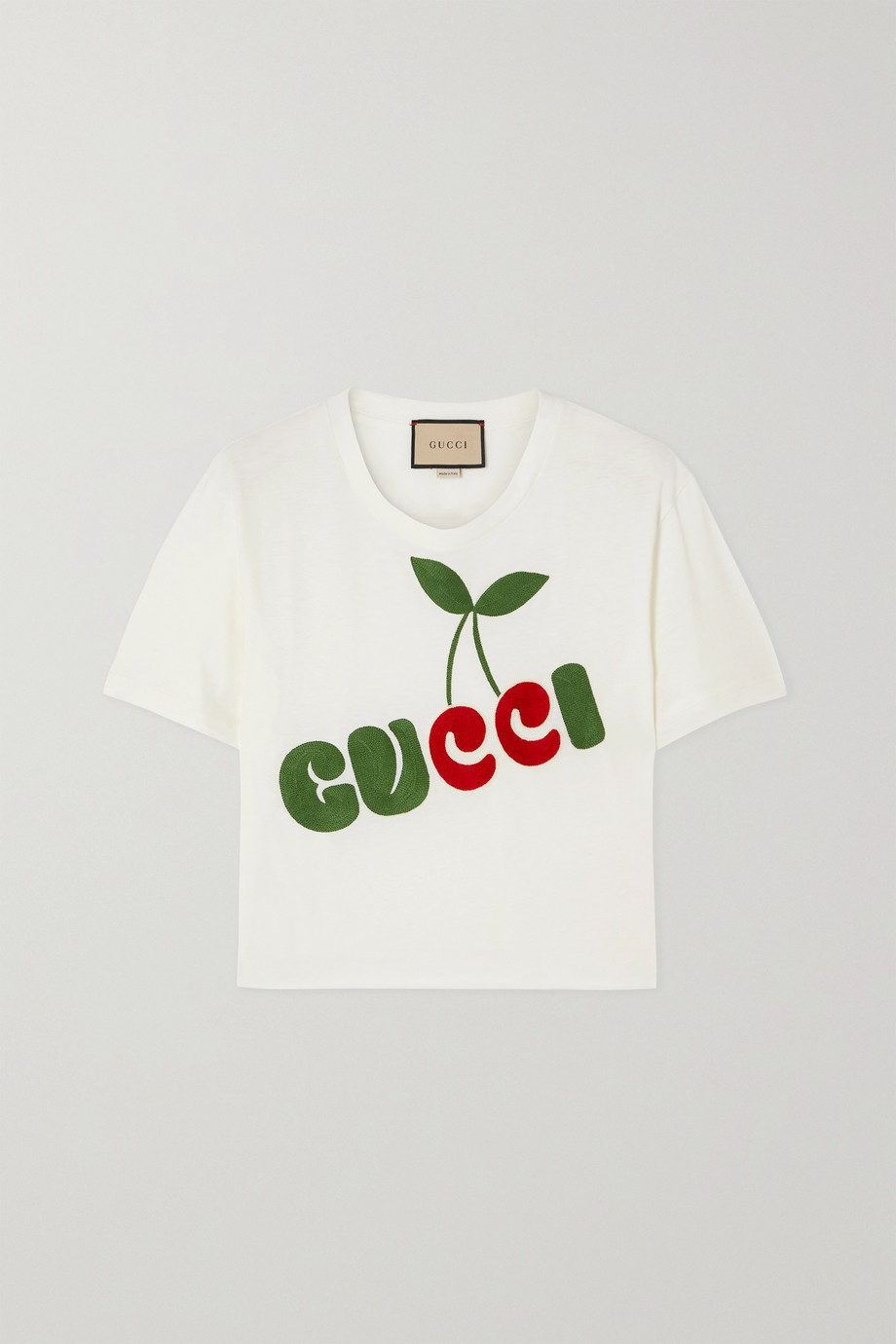 Gucci + NET SUSTAIN cropped embroidered organic cotton-jersey T-shirt