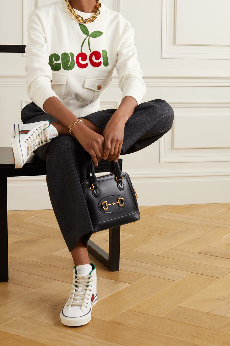 Gucci + NET SUSTAIN embroidered organic cotton-jersey sweatshirt