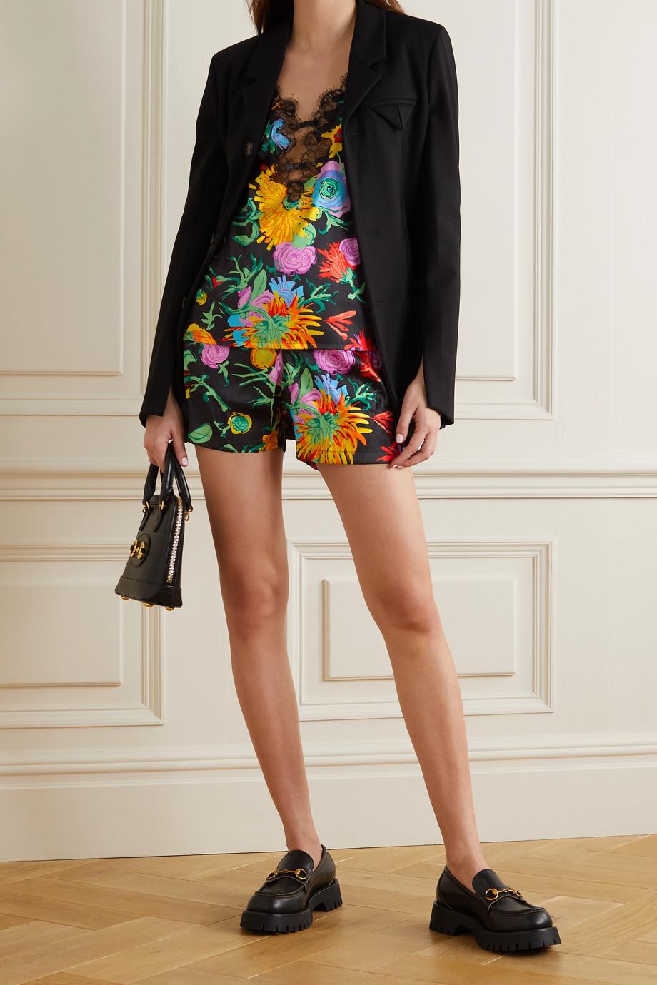 Gucci + Ken Scott Jenni Top aus einer Seidenmischung mit Blumenprint und Spitzenbesätzen