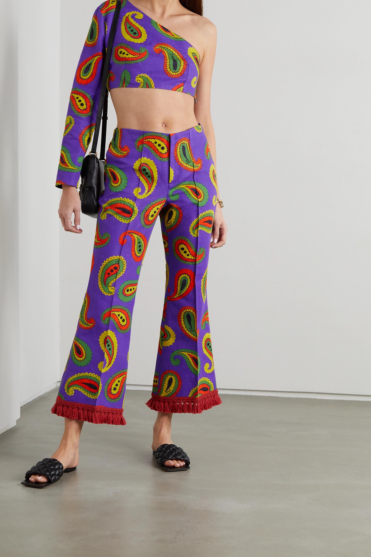 Gucci Oberteil aus Canvas aus einer Baumwoll-Leinenmischung mit Paisley-Print und asymmetrischer Schulterpartie