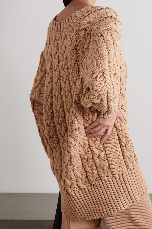 Mother of Pearl + NET SUSTAIN Aria Zopfstrick-Cardigan aus einer Biobaumwoll-Wollmischung