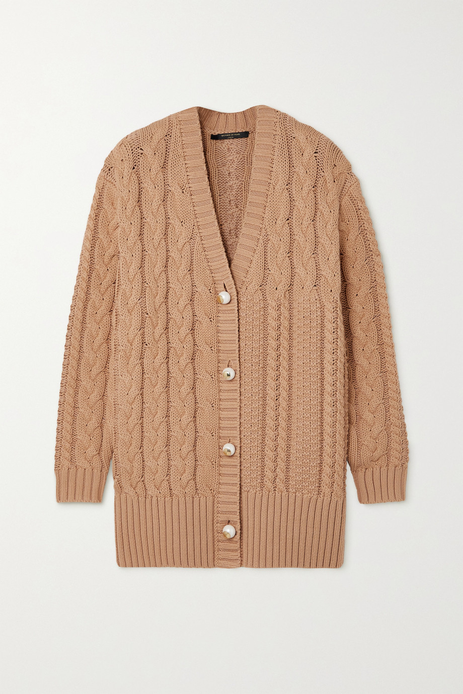Mother of Pearl + NET SUSTAIN Aria cable-knit organic cotton and wool-blend cardigan