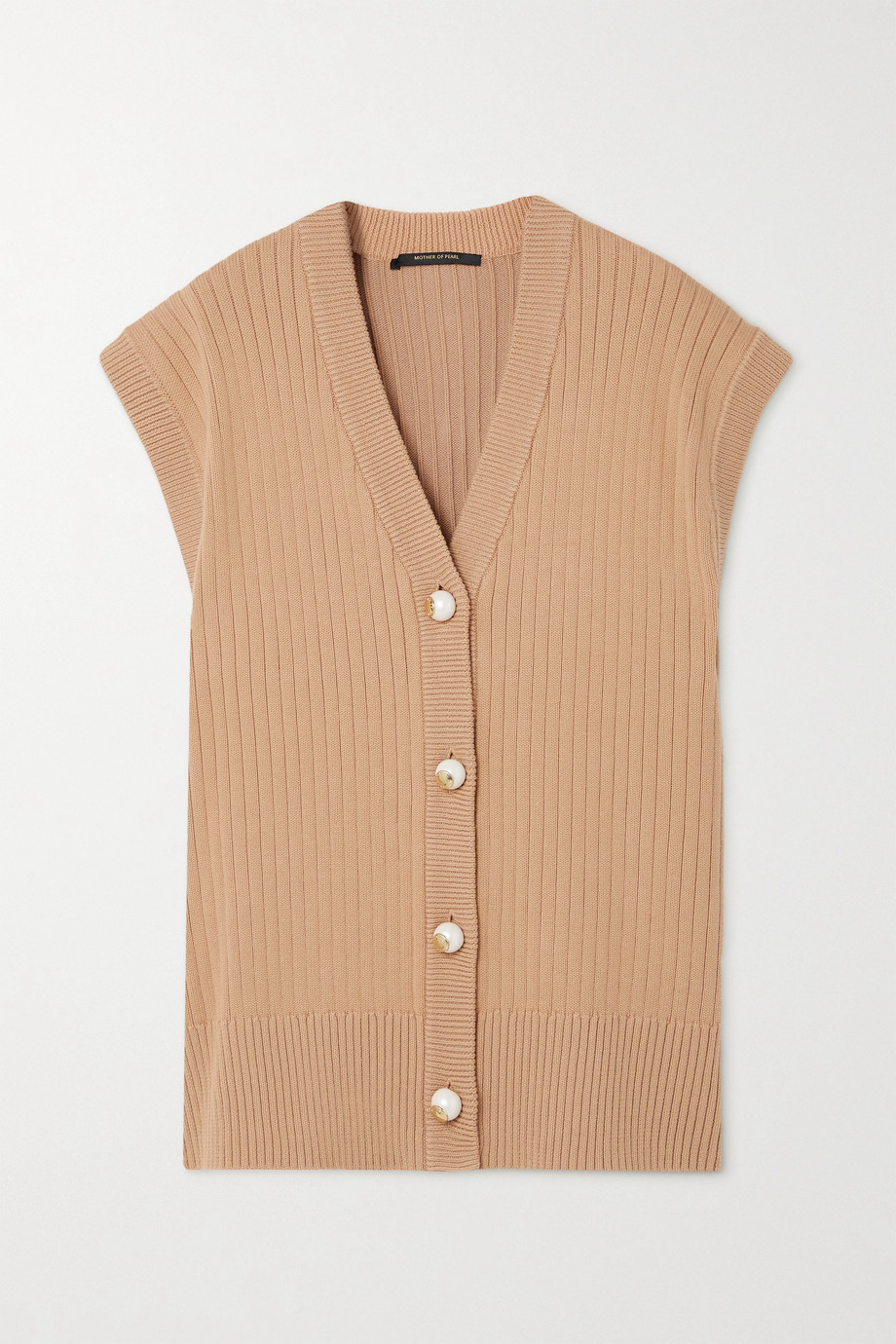 Mother of Pearl + NET SUSTAIN Casey ribbed organic cotton and wool-blend cardigan