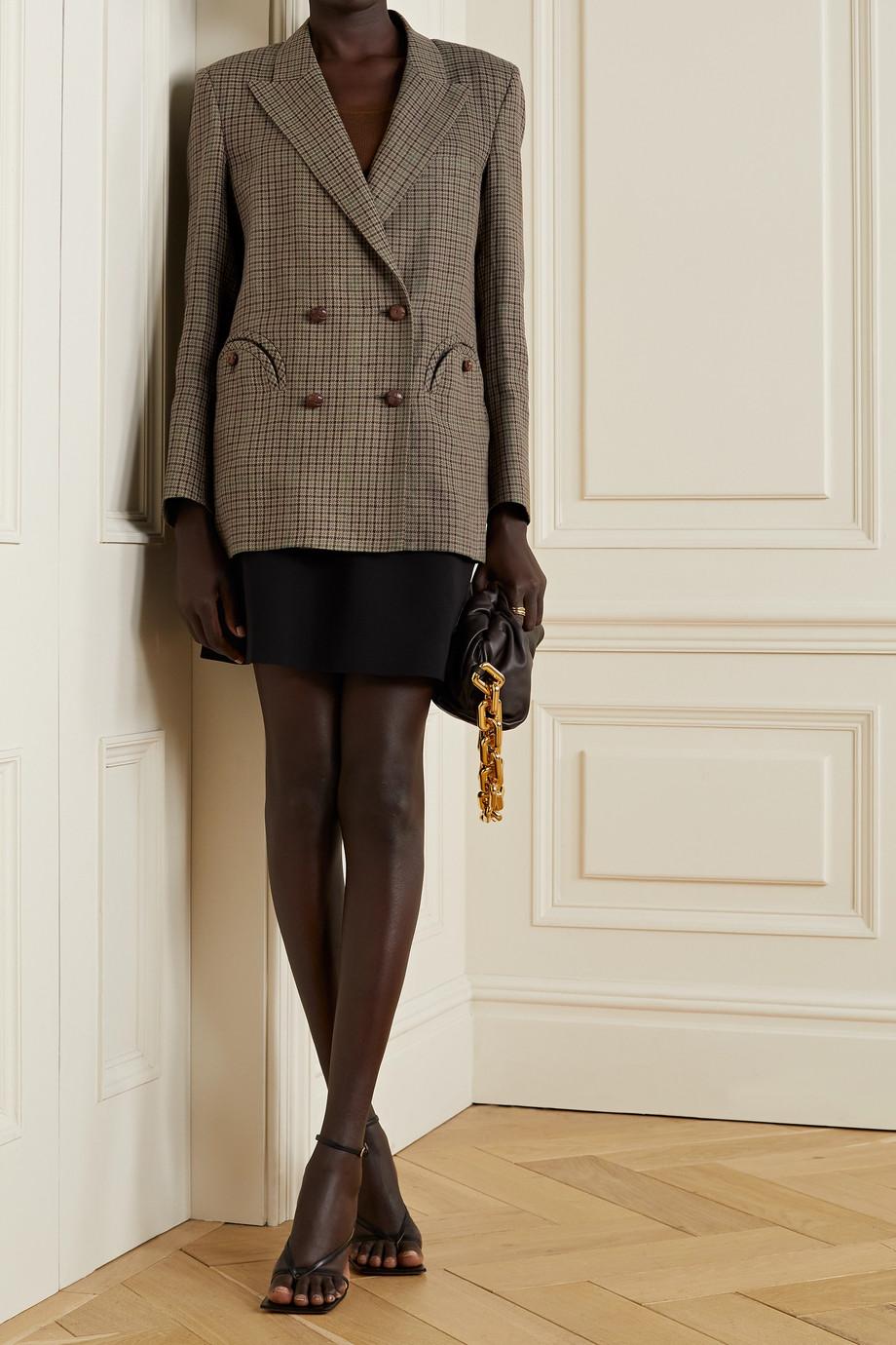 Blazé Milano Everynight doppelreihiger Blazer aus einer Leinen-Baumwollmischung mit Hahnentrittmuster