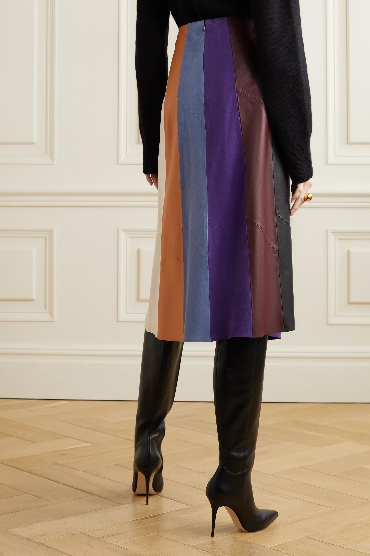 Salvatore Ferragamo Paneled leather and suede midi skirt