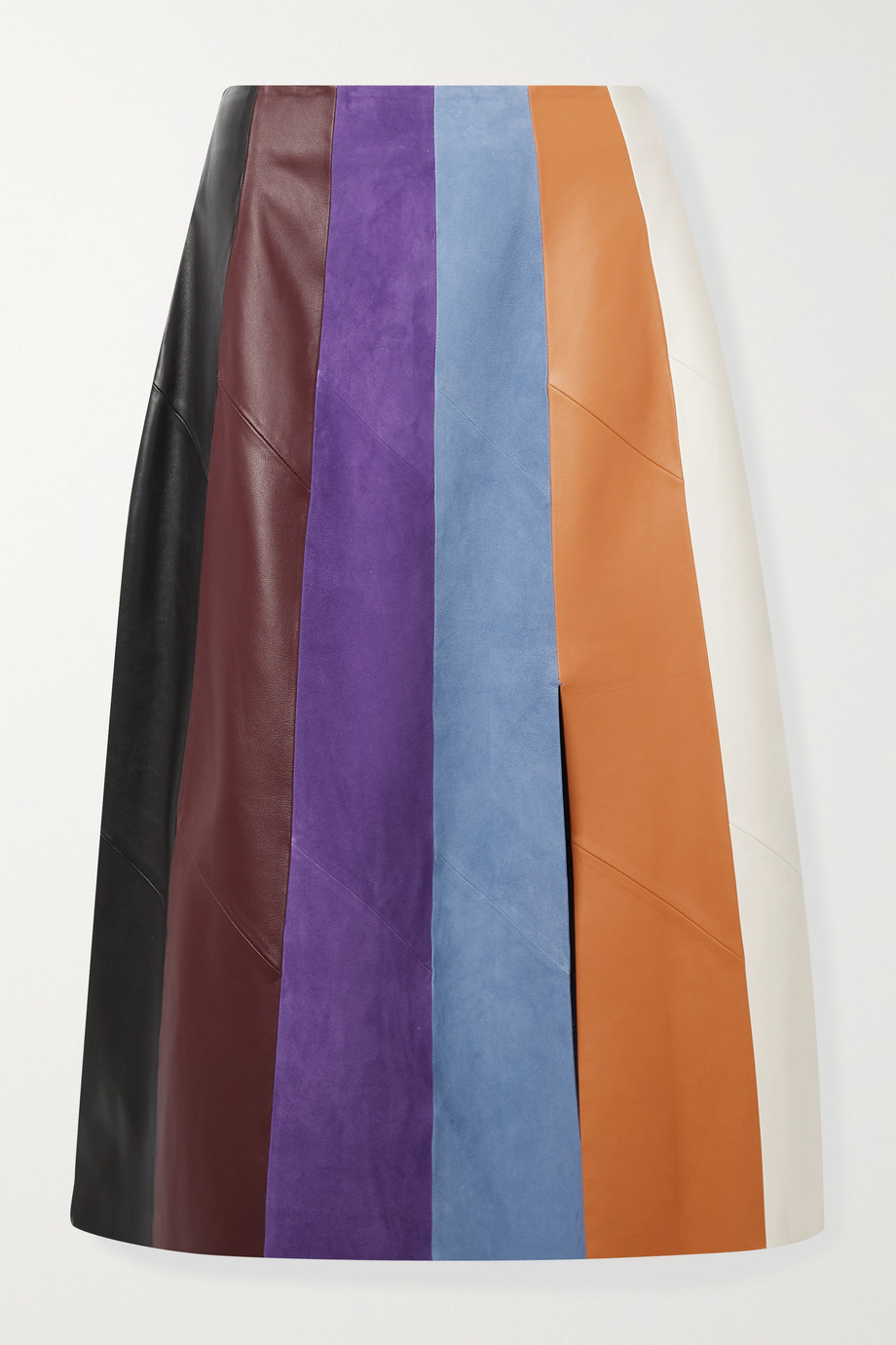 Salvatore Ferragamo Paneled leather and suede midi skirt