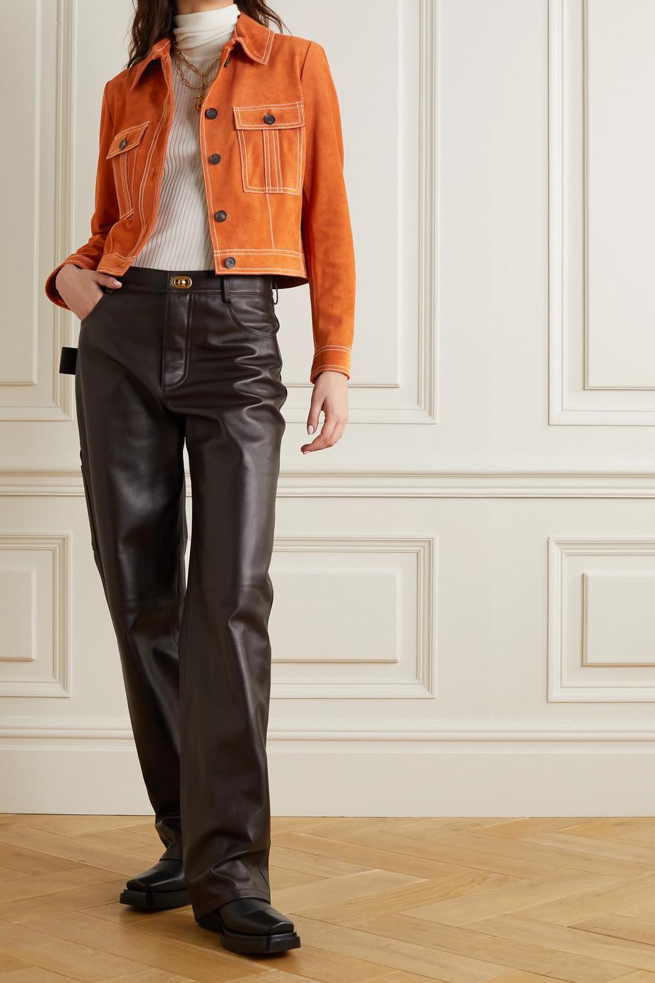 Salvatore Ferragamo Cropped topstitched suede jacket