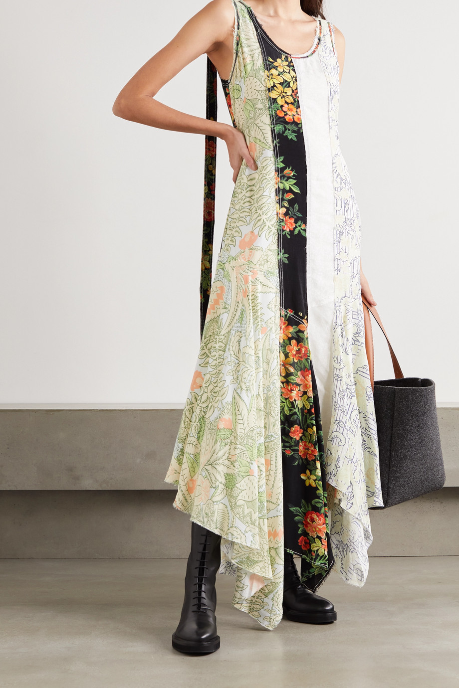 JW Anderson Asymmetric patchwork floral-print georgette maxi dress