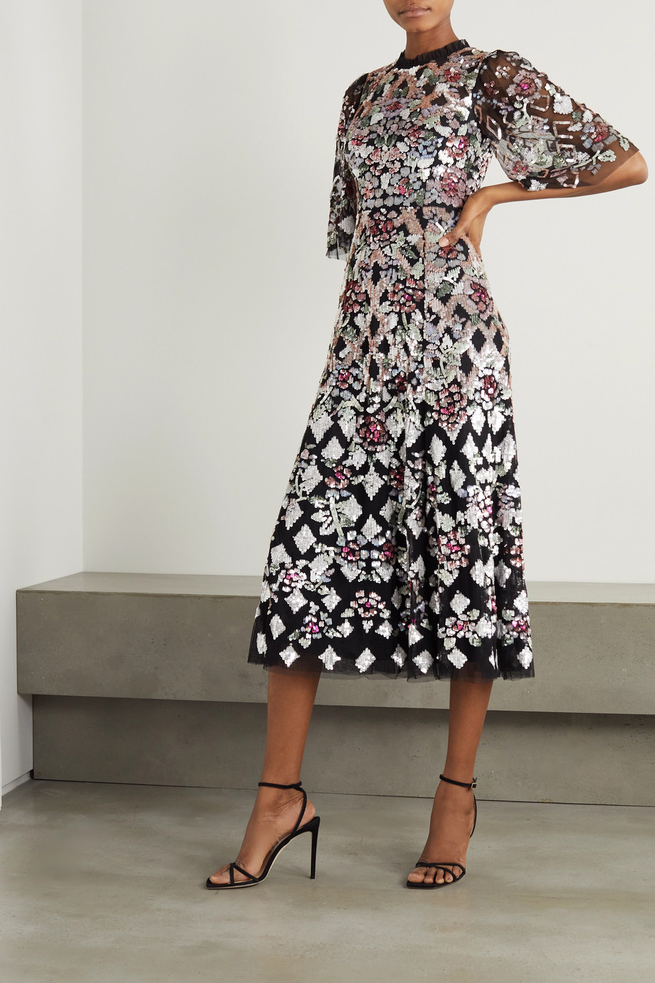 Needle & Thread Harlequin Rose Ballerina sequin-embellished tulle midi dress